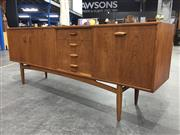 Sale 8967 - Lot 1053 - G Plan Fresco Teak Sideboard Two Doors Four Drawers and Drop Front Section (H:78 W:206 D:45cm)