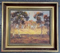 Sale 9135 - Lot 2085 - A group of Australian School Landscape paintings by various artist, including J Robinson and a Ken Duncan poster of an aerial view o...