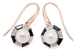 Sale 9209J - Lot 372 - A PAIR OF 9CT ROSE GOLD DECO STYLE GEM SET EARRINGS; each centring a cultured pearl to octagonal surround set with onyx and round br...
