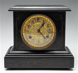 Sale 9211 - Lot 90 - A Painted Timber Mantle Clock With Light Decorative Etching and Gilt Face (H:27cm W:28.5cm)