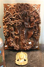 Sale 8098 - Lot 78 - Carved Thai Wood Panel & Smaller Example