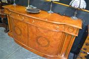 Sale 8138 - Lot 903 - Italian Inlaid Breakfront Sideboard w 4 Drawers above 2 Doors & Column Supports