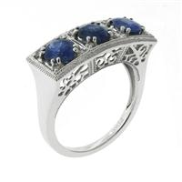 Sale 8221A - Lot 85 - Art Deco Style Platinum Sapphire and Diamond Ring; set in row with three blue sapphires estimated at 2.42ct, with round brilliant cu...