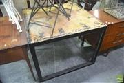 Sale 8307 - Lot 1078 - Rustic Black Square Dining Table (Top 100 x 100cm)