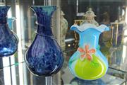 Sale 8276 - Lot 27 - Blue Art Glass Vase & Another