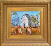 Sale 8316 - Lot 565 - Hugh Sawrey (1919 - 1999) - Sunday Morning at the Church - Lockyer Valley, Qld 24 x 29cm