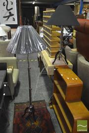 Sale 8326 - Lot 1210 - Pair of Chrome Tripod Base Floor Lamps (5794)