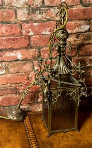 Sale 8420A - Lot 90 - An antique Victorian bronze lantern, featuring decorative bronze frame and coloured glass inserts, re-wired to Australian safety sta...