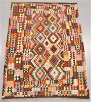 Sale 8438K - Lot 40 - Summer Afghan Tribal Kilim Rug | 252x185cm, Pure Wool, Finely handwoven in Northern Afghanistan using high quality local wool. Vibra...