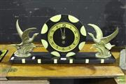 Sale 8499 - Lot 1007 - Art Deco 12 Hour Mantle Clock with Soaring Brass Storks and Inlaid Dial (with key)