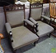 Sale 8500 - Lot 1238 - Pair of Carved Timber Framed Armchairs on Castors