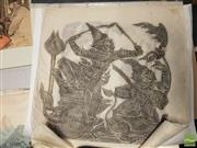 Sale 8552 - Lot 2074 - Boxed Chinese Textile Print with Balinese Rice Paper Rubbings (6)