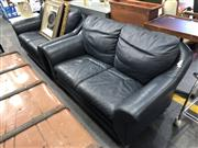 Sale 8801 - Lot 1581 - Pair of Blue Leather 2 Seater Lounge