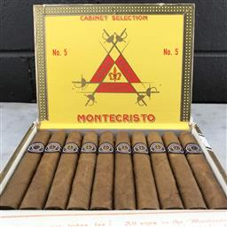 Sale 9079 - Lot 521 - Montecristo No.5 Cuban Cigars - box of 10, stamped September 2015
