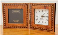Sale 9090H - Lot 29 - An Addison Ross of London photo frame and integral clock, Height 14cm x Width 14cm