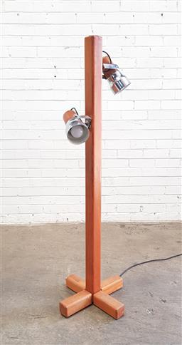 Sale 9134 - Lot 1089 - Timber twin shade floor lamp (h:143cm)