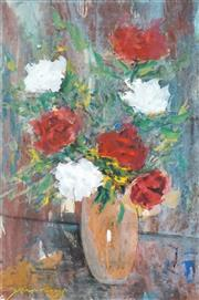 Sale 8548 - Lot 2020 - Stephen Tandori - Still Life - Red and White Arrangement 35 x 23.5cm (frame size: 74 x 59cm)