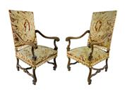 Sale 8620A - Lot 51 - A pair of antique French walnut Louis XIII style tapestry covered armchairs, H of back 120 x W 63cm
