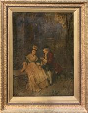 Sale 8659 - Lot 2013 - C18th English Chromolithograph in a Gilt Frame, 102 x 81cm (frame size)