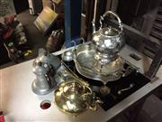 Sale 8659 - Lot 2226 - Mainly Metalwares incl Brass Kettle, Silver Plated Kettle on Stand, Tray, Pewter Set, etc