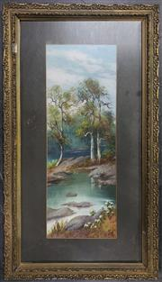 Sale 8958 - Lot 2055 - An early C20th oil painting of the Wilderness by Unknown Artist (antique frame: 84.5 x 47cm), intialled R.W