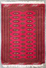Sale 8971 - Lot 1051 - Hand Woven Afghan Bokhara Carpet on red ground with patterned border (110 x 79cm)