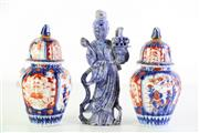 Sale 8980S - Lot 698 - Pair of handpainted lidded urns (H19cm, repaired finials and some chips) together with a stone figure