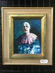 Sale 9072 - Lot 2028 - Desmond Digby Clown oil on panel, 20 x 18cm (frame), signed -