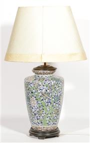 Sale 9086 - Lot 90 - A Ceramic Floral Table lamp with shade H:66cm