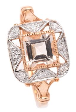 Sale 9132 - Lot 534 - A MORGANITE AND DIAMOND ART DECO STYLE RING; featuring a carre cut morganite to geometric surround set with round brilliant cut diam...