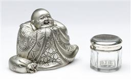 Sale 9164 - Lot 265 - A Royal Selangor Pewter buddha figure together with a silver topped pill box