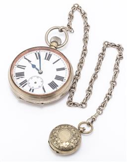 Sale 9180E - Lot 147 - A vintage railway pocket watch and sovereign case on chain marked DH & Co., total length approx 53cm