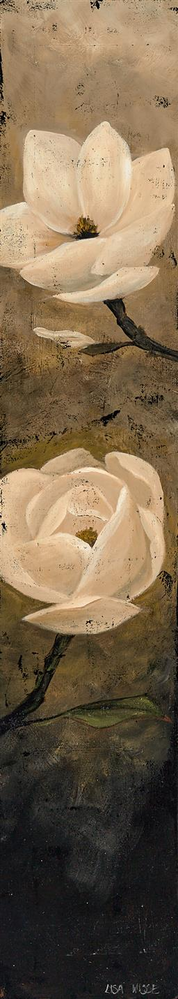 Sale 9256A - Lot 5031 - LISA WISSE (1968 - ) Antique Blooms acrylic on canvas (unstretched) 110 x 20cm signed lower right, Trevor Victor Harvey Gallery labe...