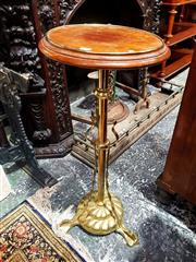 Sale 8693 - Lot 1034 - Brass Jardiniere Stand, with round probably mahogany top, on turned pedestal with three feet