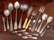 Sale 8882H - Lot 16 - A group of useful silver plated serving utensils.