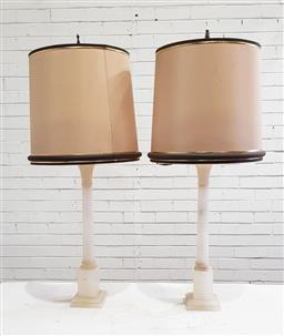 Sale 9174 - Lot 1066 - Pair of Column Form Alabaster Table Lamps, with cream linen shades with grey trims (one with brake/ repair across top,  h:100cm)