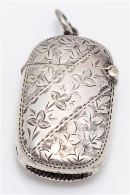 Sale 9180E - Lot 53 - A sterling silver oblong vesta with monogram to front VR and floral engravings, Birmingham, makers mark rubbed, Length 5cm, weight...