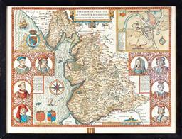 Sale 9190H - Lot 396 - An Antiquarian map of Lancashire by John Speed dated 1610. Original copperplate engraving with later hand colouring. Verso showing a...