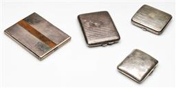 Sale 9192 - Lot 45 - Four Early C20th Hallmarked Sterling Silver Cigarette and Card Cases (W:13cm-8cm)