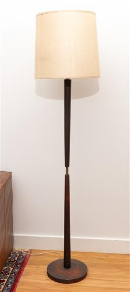 Sale 9239H - Lot 20 - A Mid-Century design timber and metal floor lamp, total H with shade 183cm.