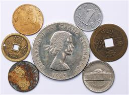 Sale 9246 - Lot 54 - A 1965 commemorative Winston Churchill crown together with other world coins and tokens