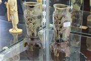 Sale 8014 - Lot 23 - Soapstone Carved Pair of Vases