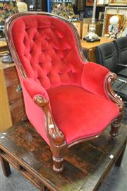 Sale 8175 - Lot 1070 - Victorian Mahogany Button Red Velvet Armchair