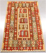 Sale 8438K - Lot 43 - Summer Afghan Tribal Kilim Rug | 305x198cm, Pure Wool, Finely handwoven in Northern Afghanistan using high quality local wool. Vibra...