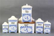 Sale 8806 - Lot 21 - Blue and White Czechoslovakian Graduated Kitchen Cannisters