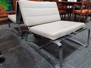 Sale 8822 - Lot 1097 - Pair of Minotti Chrome Based Lounge Chairs