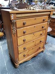 Sale 8848 - Lot 1048 - Victorian Style Pine Chest of Drawers, with cushioned shaped & five long drawers, flanked by carved brackets