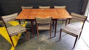 Sale 8984 - Lot 1066 - Vintage Parker Seven Piece Dining Setting incl. Extension Table & Six Upholstered Chairs (Table - H:72 x L:91 x W:91cm)