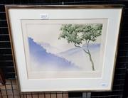 Sale 9077 - Lot 2011 - Peter Hickey, Mountain Landscape & Tree, colour aquatint, frame: 33 x 37 cm,