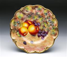 Sale 9098 - Lot 244 - G. Delaney Hand Painted Fruit Themed Dish with Gilt Border (Dia:26cm)